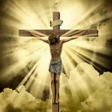 Jesus Christ On Cross Clouds Photo Backdrop SH341