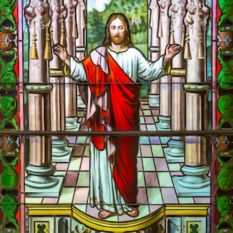 Jesus Christ Stained Glass Christian Backdrop  SH344
