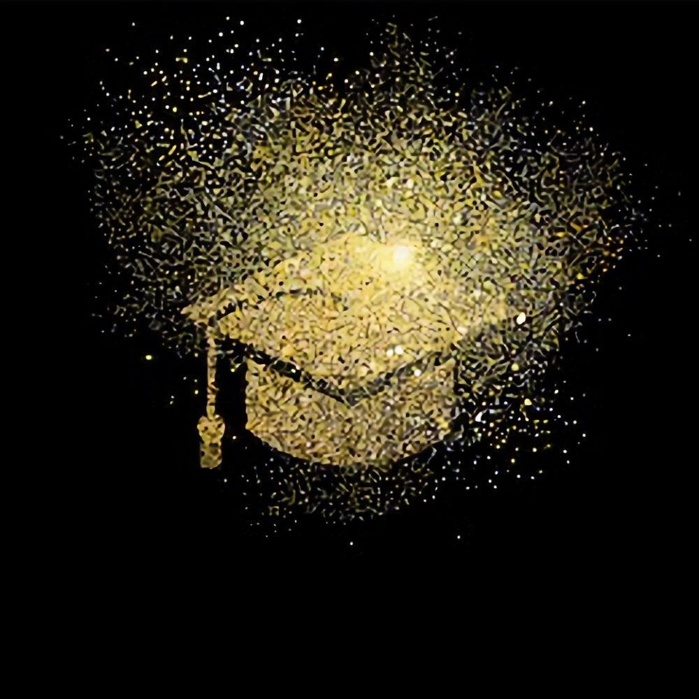 Gold and Black Graduation Photography Party Backdrop SH381