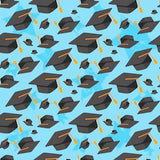 Trencher Cap Graduation Blue Background Backdrop SH383