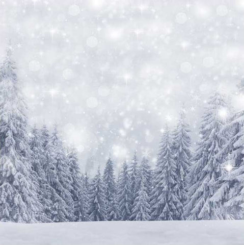 Winter Backrop Snow Xmas Tree Photo Booth Background ST-482