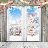 Window Snow Scenery Christmas Backdrops for Photography DBD-19327