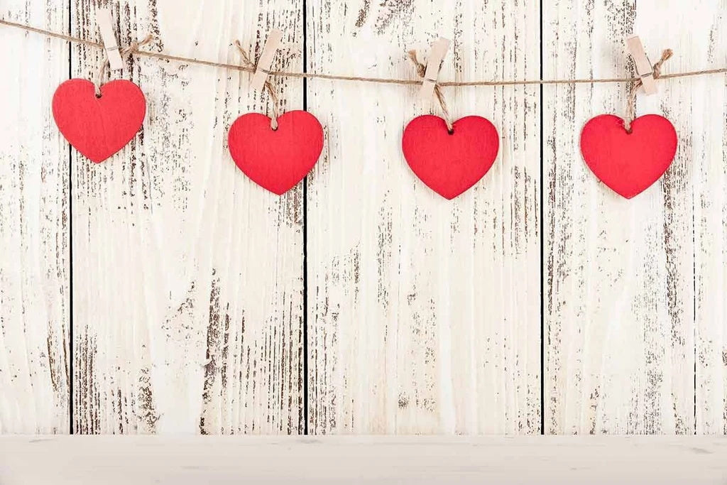 Red Hearts Wood Wall Valentine Photography Backdrops VAT-38