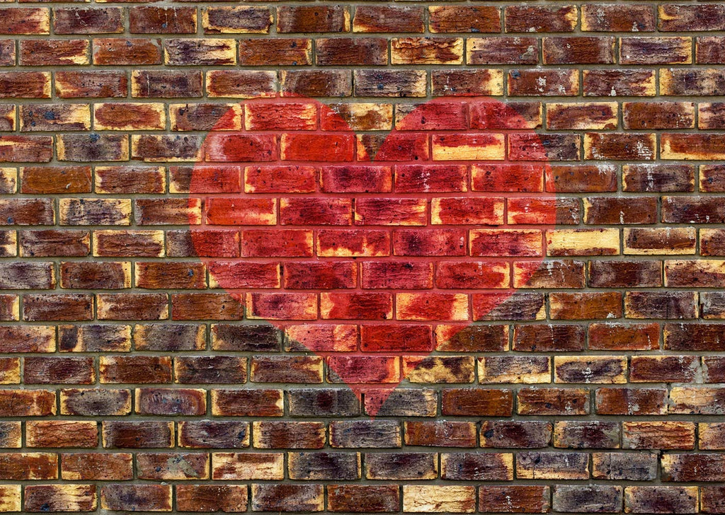 Valentine's Day Love Heart Photography Backdrop Retro Red Brick Wall