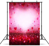 Red Pink Hearts Sparkle  Backdrop for Valentine Photos VAT-41