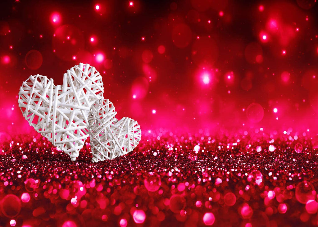 Valentine's Day Backdrop Photography Red Glitter Background White Hearts Love Theme