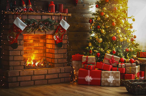 Stove Socks Christmas Tree Photo Booth Backdrop DBD-19216