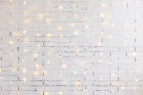 Xmas Lights White Brick Wall Backdrop for Photography DBD-19230