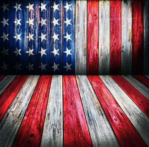 Independence Day Wood American Flag Patriotic Studio Backdrop YY00603