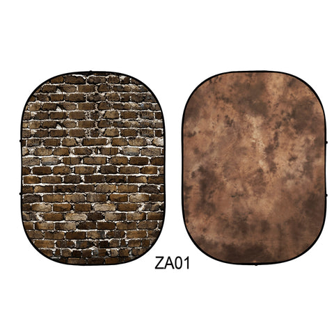 Abstract Texture/Brick Collapsible Double-sided Backdrop  5x6.5ft(1.5x2m) ZA01