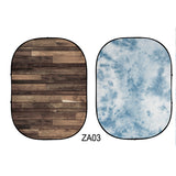 Double-sided Abstract Texture/Wood Collapsible Backdrop  5x6.5ft(1.5x2m) ZA03
