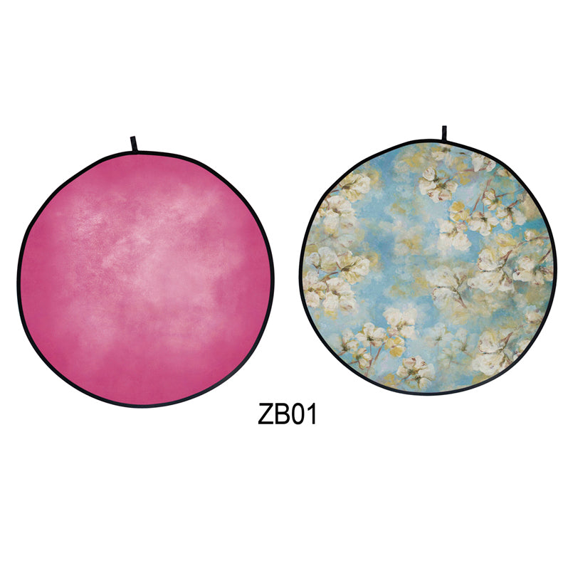 Collapsible Double-sided Round Floral /Pink Backdrop 5x5ft(1.5x1.5m) ZB01
