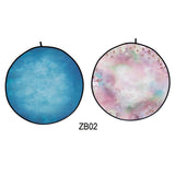 Collapsible Double-sided Round Floral /Blue Backdrop 5x5ft(1.5x1.5m) ZB02