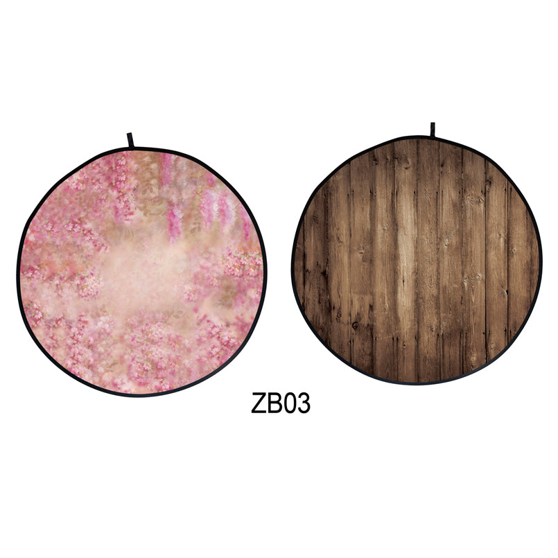 Collapsible Double-sided Round Floral /Wood Backdrop 5x5ft(1.5x1.5m) ZB03