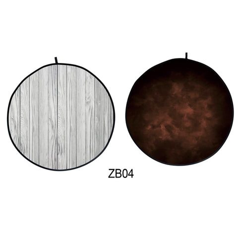 Collapsible Double-sided Round  Abstract Texture/Wood Backdrop 5x5ft(1.5x1.5m) ZB04