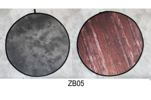 Round Black Abstract Texture/Wood  Collapsible Double-sided Backdrop  5x5ft(1.5x1.5m) ZB05