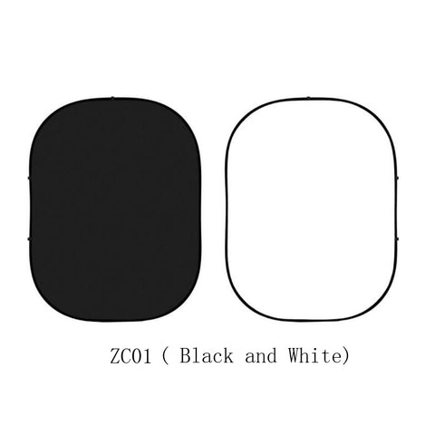 Collapsible Double-sided Black and White Photo Backdrop  5x6.5ft(1.5x2m) ZC01