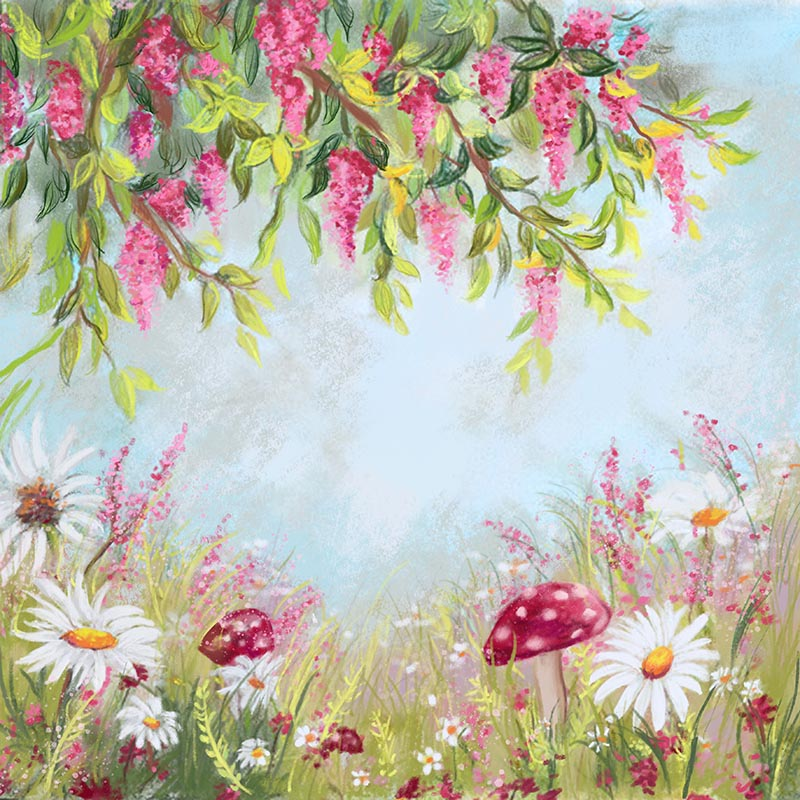 Flowering Shrubs Oil Painting Backdrop for Photography ZH-277