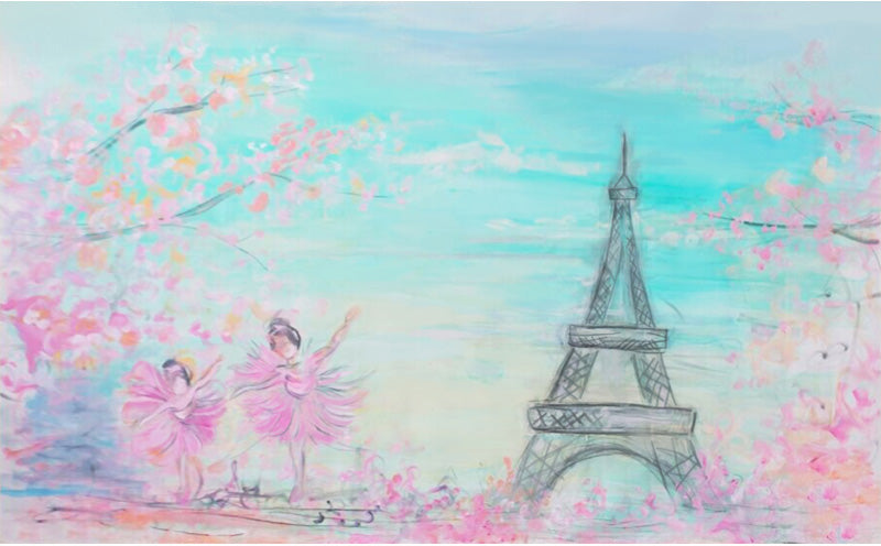 Floral Paris Birthday Backdrops for Photo Booth Props ZH-24