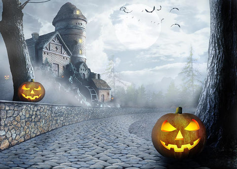 Castle Background Pumpkin Lanterns Halloween Backdrops IBD-H19134