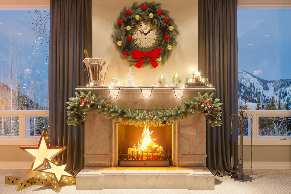 Christmas Stove Decorated House Photography Backdrops DBD-H19183