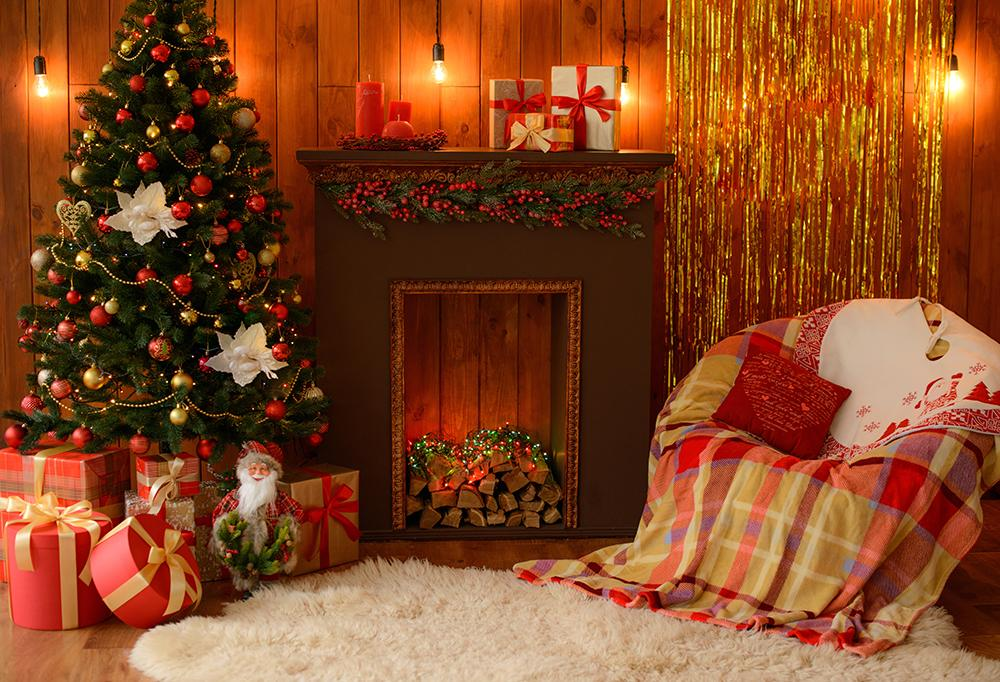Christmas Sofa Gift Fireplace Photography Backdrops DBD-H19192
