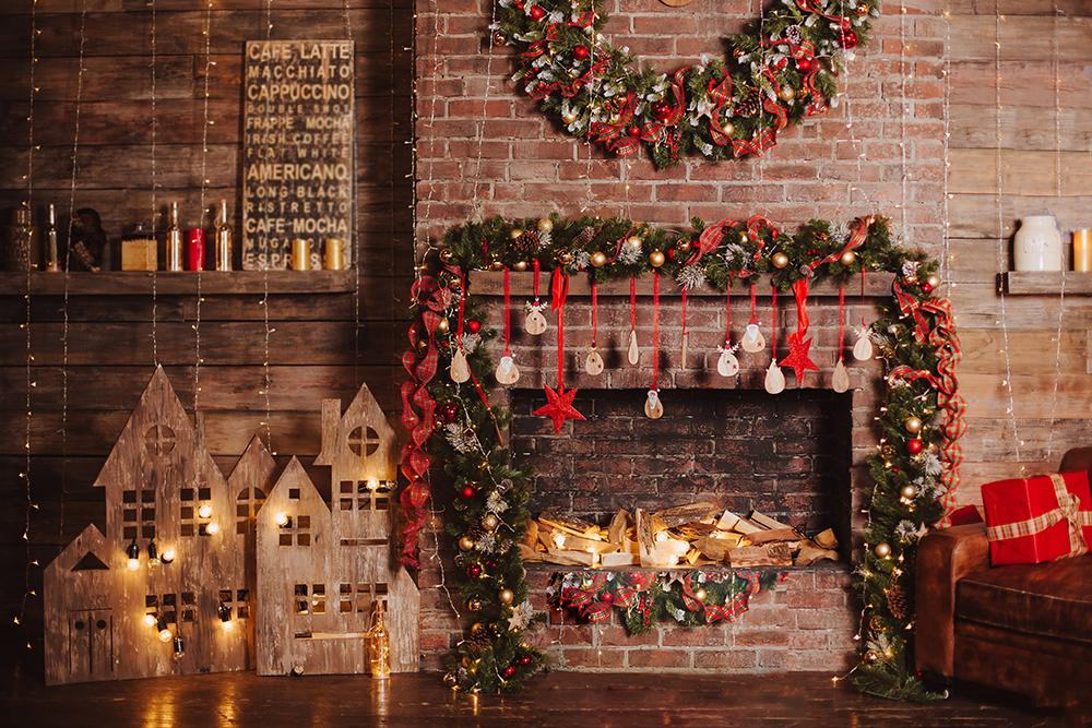 Christmas Decorations Brick Wall Photography Backdrops DBD-19186