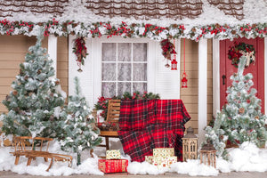 Cotton Christmas Decoration House Box Gift Backdrop DBD-H19184