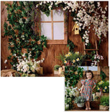 Spring White Flowers Wooden House Photo Backdrop