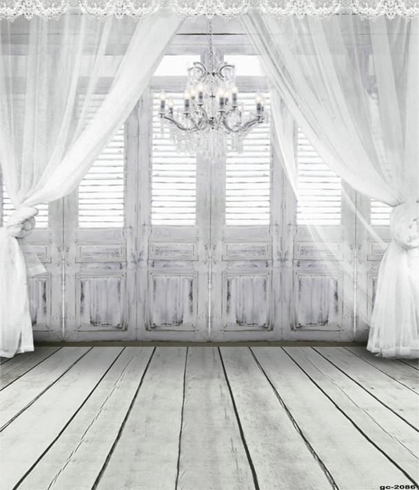 White Retro Wood Door Window Curtain Backdrop for Photo Shoot gc-2086-1