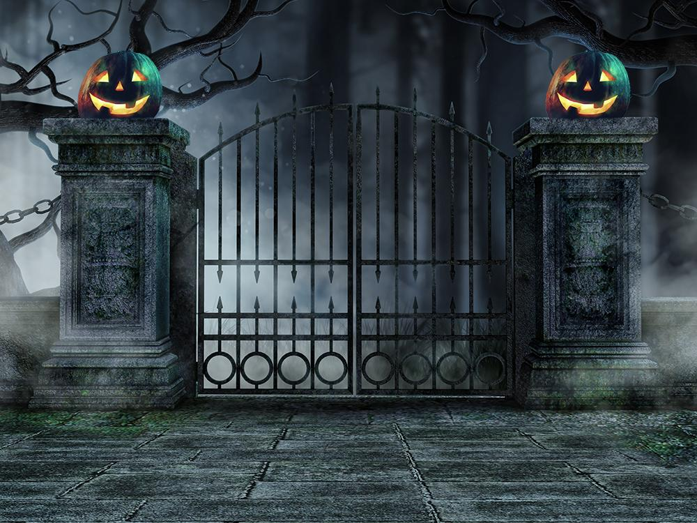 Halloween Holiday Pumpkin Lanterns Iron Gate  Backdrop for Photography DBD-H19011