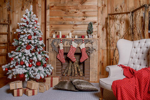 Christmas Stove Gift Socks Wooden Christmas Backdrops DBD-H19172