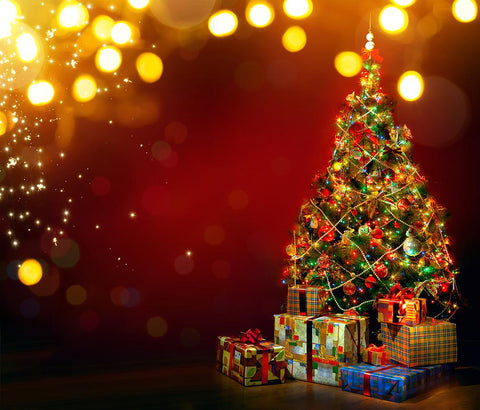 Christmas Tree Gift Bokeh Christmas Photography Backdrops DBD-H19168