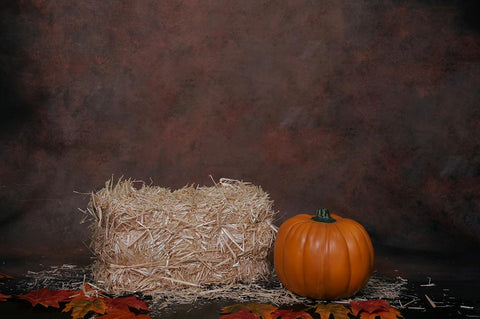 Festival Backdrops Halloween Haystack And Pumpkin Background IBD-19067