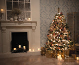 Christmas Tree Candle Fireplace  Backdrop for Photography DBD-H19204