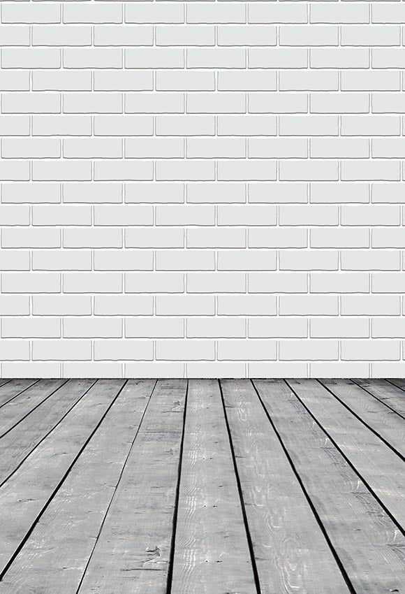 White Brick Wall Photo Booth Backdrop LV-038