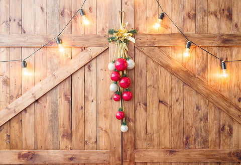 Wooden Barn Door with Lights Backdrop for Photography LV-1039