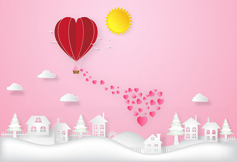 Valentine's Day Countryside Pink Backdrop for Photography LV-1216