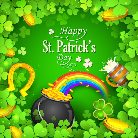 Happy Saint Patrick's Day Clover Money Green Luck Photo Backdrop LV-1325