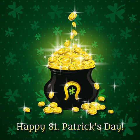 Happy Saint Patrick's Day  Golden Coins Clover Photo Backdrop LV-1326