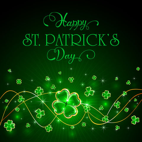 Green Happy Saint Patrick's Day Clover Photo Backdrop LV-1327
