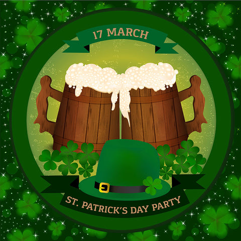 Saint Patrick's Day Backdrop Bear Clover Green Background  LV-1328