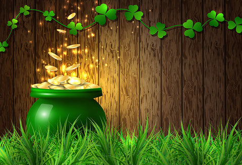 St. Patrick's Day Clover Treasure Luck Photography Backdrop LV-1329