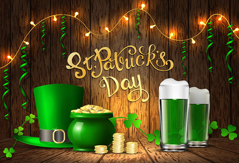 St. Patrick's Day Green Bear Hat Money Photography Backdrop LV-1330