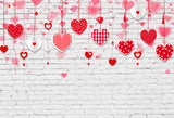 Red Heart Decoration White Brick Backdrop for Pictures LV-1340