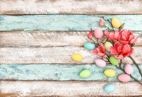 Easter Eggs Red Flower Wood Floor Easter Decorations Photo Backdrop LV-1487