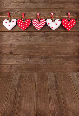 Love Heart Brown Wood Backdrop for Photo Studio LV-1533