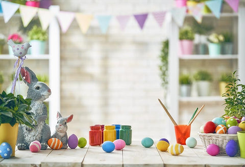 Photo Backdrop Easter Eggs Bunny Photo Booth Backdrop LV-1574