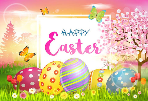 Easter Eggs Spring Flowers Photo Studio Backdrop LV-1698