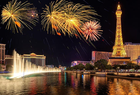 Eiffel Tower Night Paris City Fireworks Backdrop for Photography LV-190
